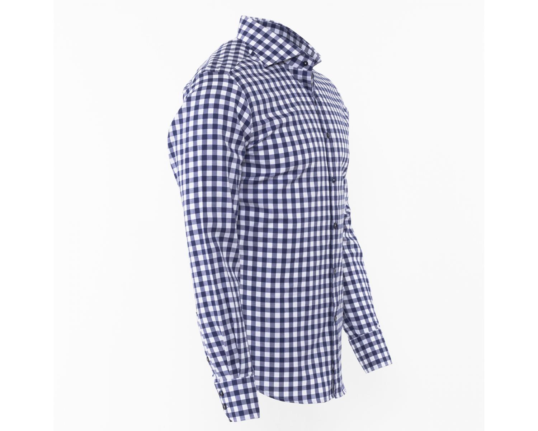 adbf3f88c48 SL 5949 Темно-синяя рубашка в белую клетку с длинным рукавом Мужские рубашки