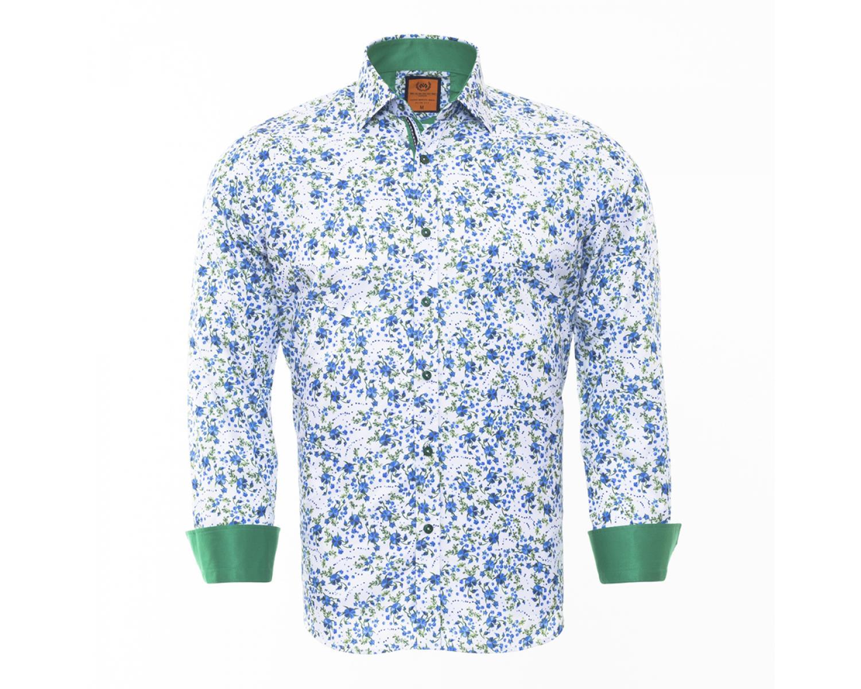 15581335b82 SL 6462 Белая рубашка с цветочным узором и зелеными вставками Мужские  рубашки