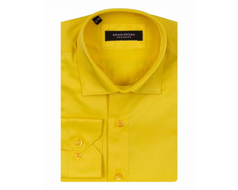 e94cbec376cf CLS 002 Желтая однотонная рубашка с длинным рукавом для мальчика