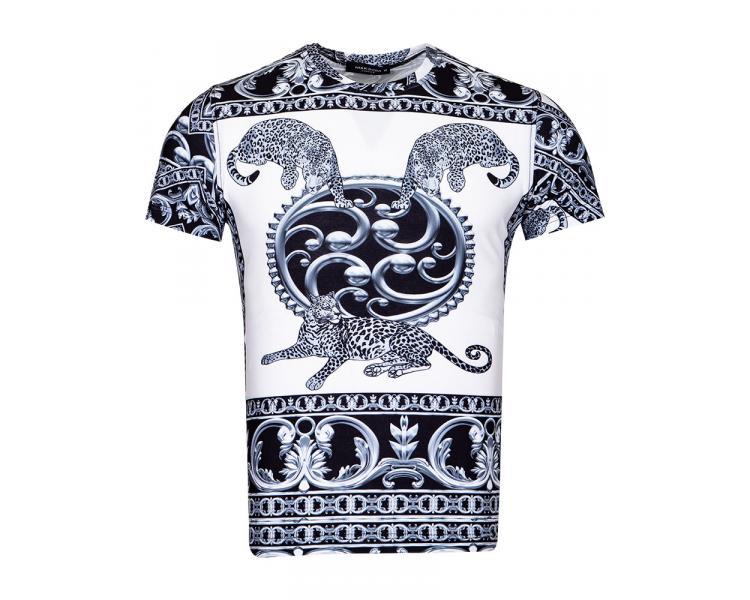 b3518f89bca5f Черно-белая 3D футболка с леопардами в стиле Барокко TS 1221 Футболки